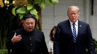 朝鲜领导人金正恩与美国总统特朗普资料图片
