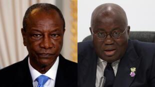 Shugaban Ghana Nana Akufo-Addo (dama) da takwaransa na Guinee Conakry Alpha Condé (hagu)