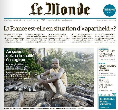 Jornal Le Monde deste domingo (25) se pergunta se a França vive um apartheid.