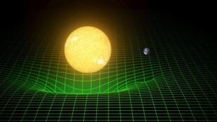 Uma simulação de computador mostra como Corpos de grande massa, como o sol, curvam o espaço.
