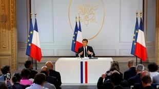 Emmanuel Macron lors de sa conférence de presse du 25 avril 2019.