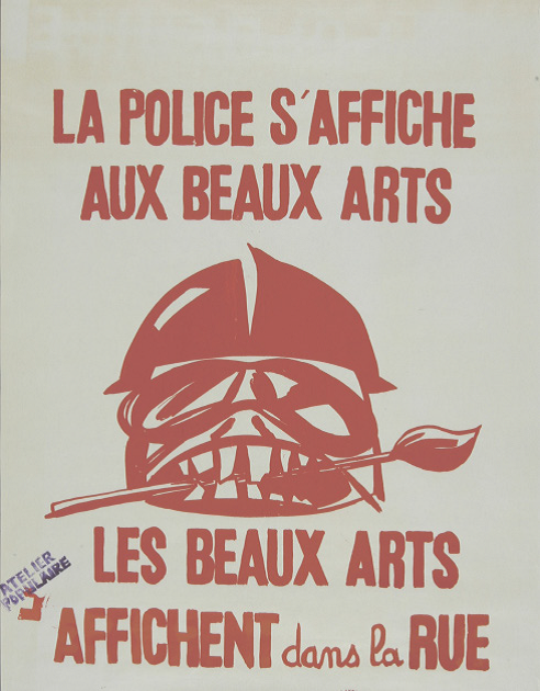 Police at the Beaux-Arts, Beaux-Arts on the streets, one of the few posters with the Atelier populaire stamp