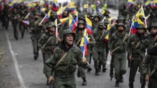 Uniformados venezolanos en una marcha en el marco de ejercicios militares en Caracas el pasado 5 de marzo de 2021