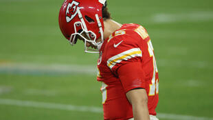 Kansas City quarterback Patrick Mahomes in the fourth quarter of the Chiefs' Super Bowl 55 loss to the Tampa Bay Buccaneers
