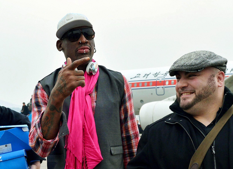 L'ancienne star de la NBA Dennis Rodman arrive à l'aéroport de Pyongyang, le 6 Janvier 2014.