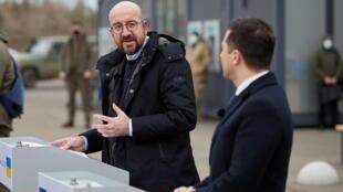 Ukraine Donbass président conseil européen Charles Michel Président Volodymyr Zelensky