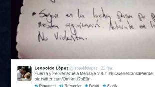 Une lettre tweetée par l'opposant Léopoldo Lopez.