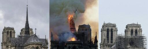 Foto monstrando a torre da flecha do alto de seus 93 m, antes durante o desmoronamento e depois do incêndio.