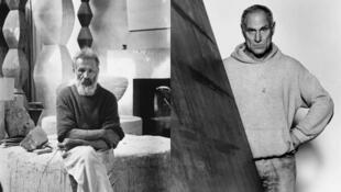 Constantin Brancusi dans son atelier, et Richard Serra à New York (1987).