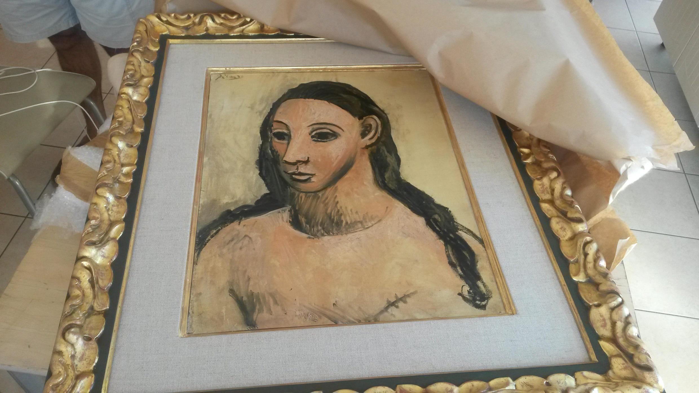 Le tableau de Picasso que la police française a saisi sur un bateau en France.