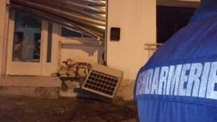 Police outside the prayer room in Ajaccio, Corisca, that was attacked on Friday night