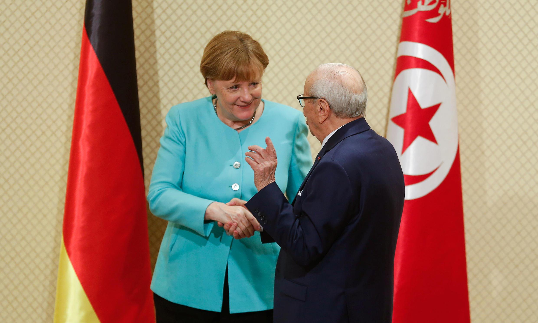 Le président tunisien Béji Caïd Essebsi et la chancelière Angela Merkel, ce vendredi 3 mars, au palais présidentiel de Carthage à Tunis.