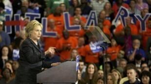 美國民主黨總統競選人希拉里-克林頓2016年3月8日在俄亥俄州一次競選造勢活動上。