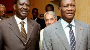 Presidential claimant Ouattara and Kenya's Prime Minister Odinga in Abidjan