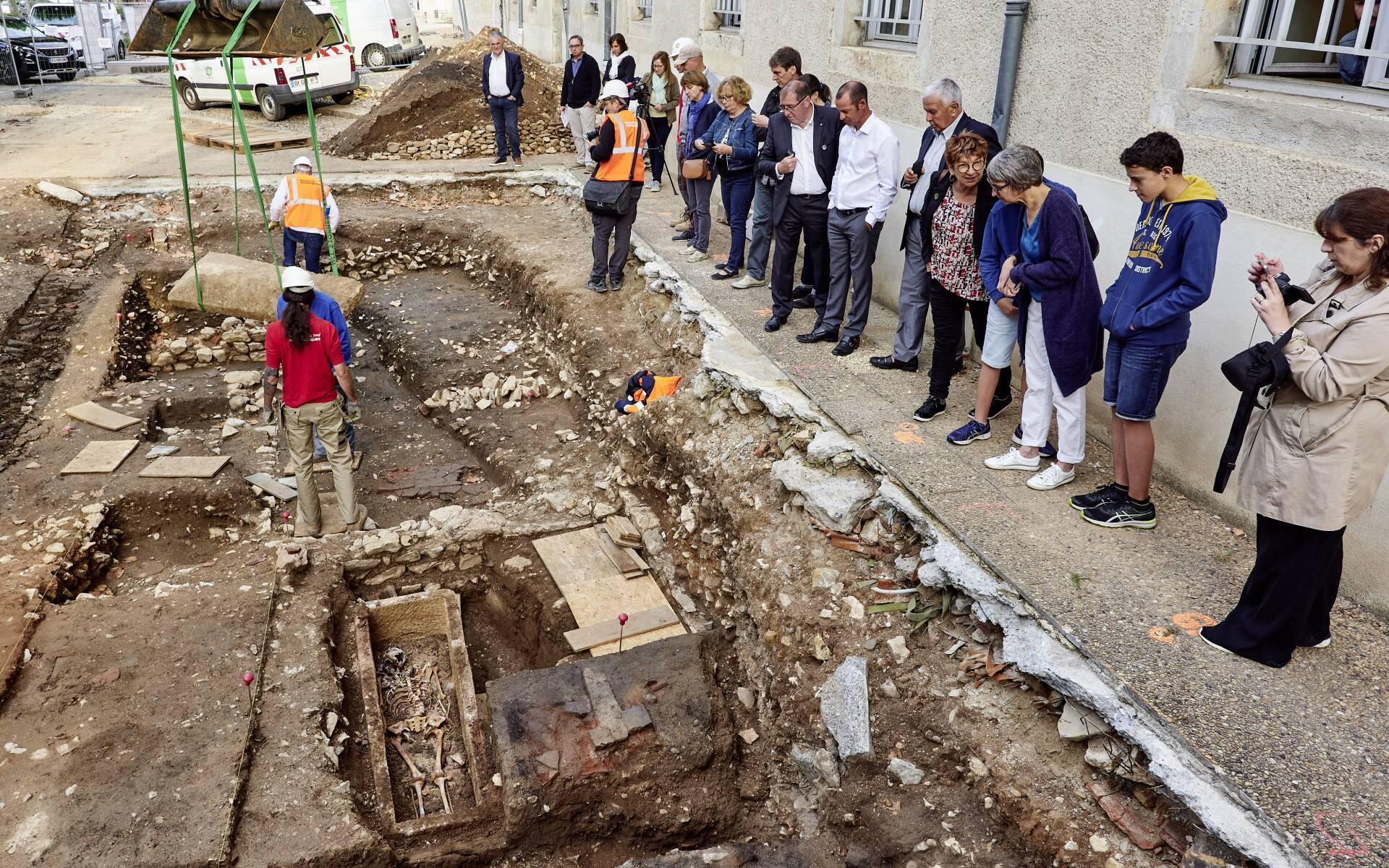 The excavation site of a 7th century Merovingian skeleton, Cahors, France, 15 August 2019.
