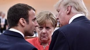 Emmanuel Macron, Angela Merkel et Donald Trump au sommet du G20 à Hambourg, le 7 juillet 2017.