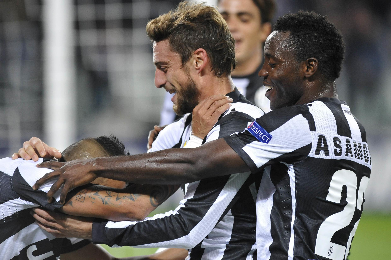 Le Ghanéen Kwadwo Asamoah (d) avec la Juventus Turin.
