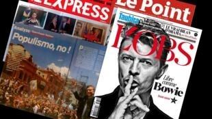 Destaque das principais revistas francesas Le Point, L'Obs e L'Express desta semana.