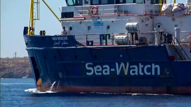 Le bateau de sauvetage Sea-Watch 3 mettant le cap sur Lampedusa, le 26 juin 2019.