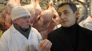 O presidente-candidato francês, Nicolas Sarkozy, nesta terça-feira no mercado de Rungis, nos arredores de Paris.