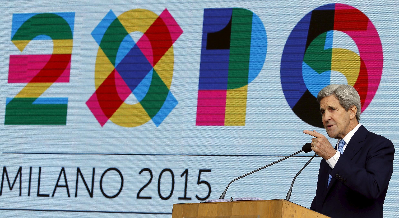 Госсекретарь США Джон Керри в на всемирной выставке в Милане, 2015 год