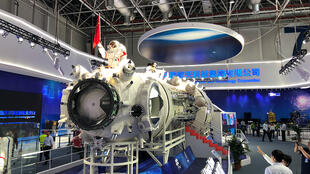 A replica of a core module of Chinese Space Station is displayed at Air Show China 2018.
