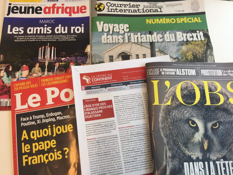 Capas de semanários sobre actualidade africana e mundial de 07/04/2018