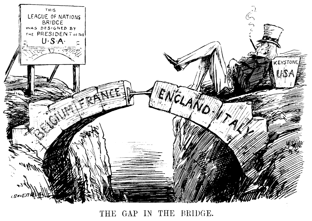 Leonard Raven-Hill (1867-1942), Le trou dans le pont, dessin, 1919, dans : Punch Almanack 1919, p. 483.
