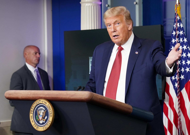 Tổng thống Mỹ Donald Trump nói về Covid-19 khi phát biểu tại Nhà Trắng, ngày 10/08/2020.