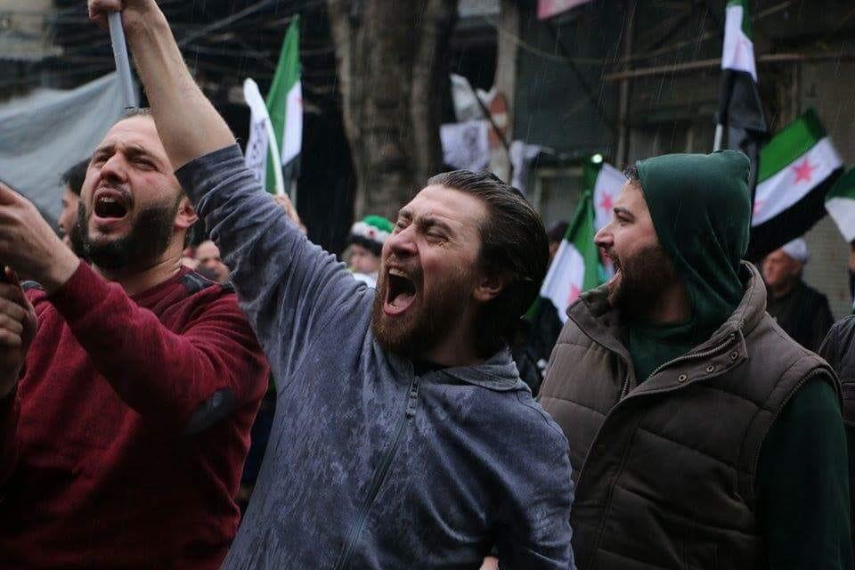 Salah Alashkar protesting in Aleppo city in 2015