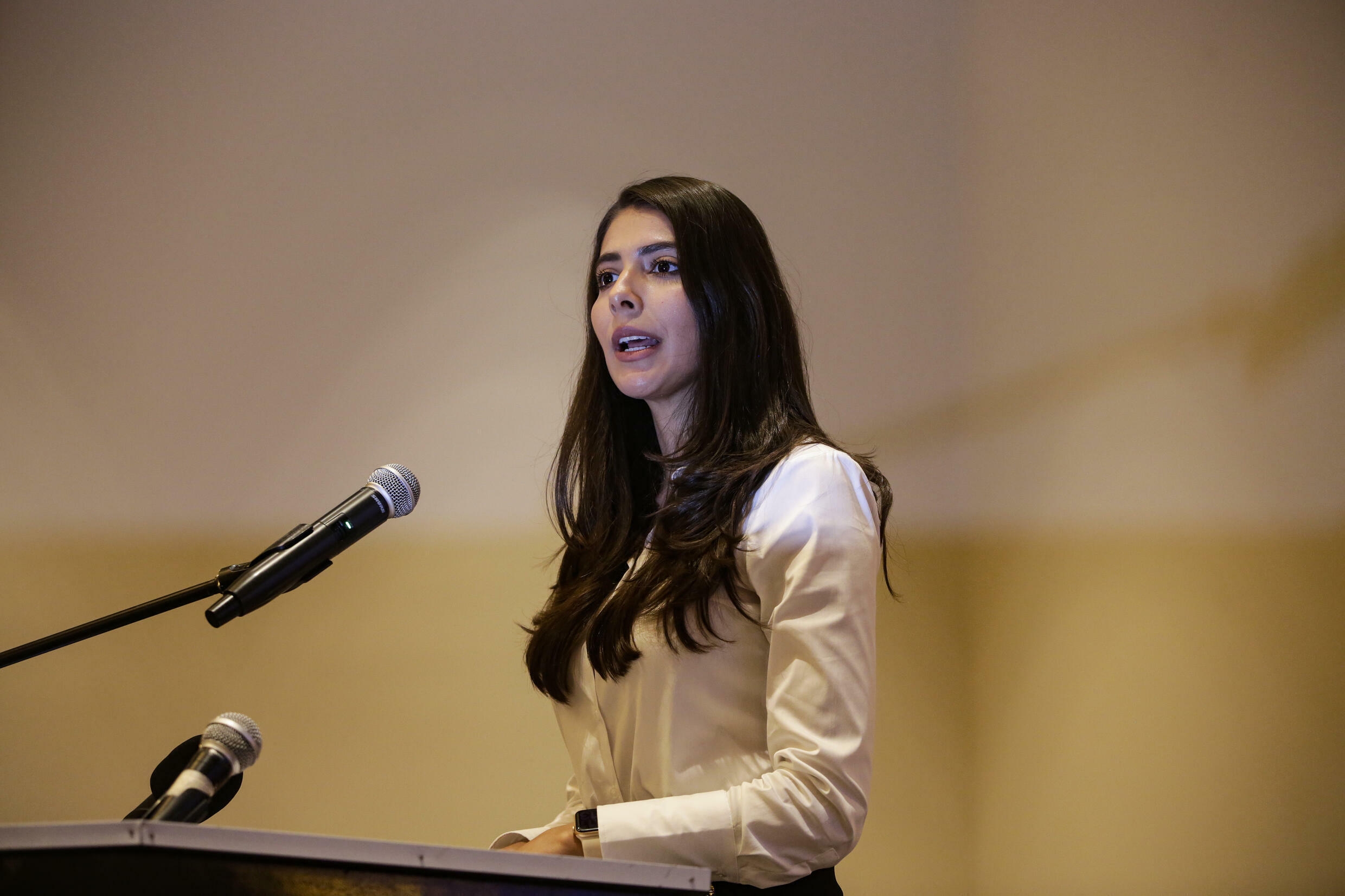 In this file photo taken on July 28, 2021 Berenice Quezada, Miss Nicaragua 2017 and vice-presidential candidate for the Alianza Ciudadana por la Libertad (ACXL) party, speaks during a rally with supporters in Managua