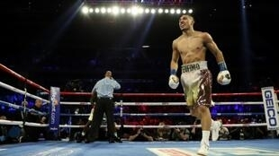 Teofimo Lopez celebrates after winning a bout at the end of 2019