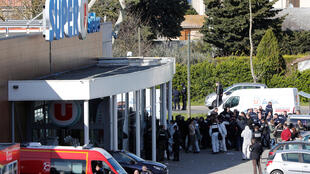 Supermercado onde ocorreu o ataque em Trèbes, no sul de França, a 23 de Março de 2018.