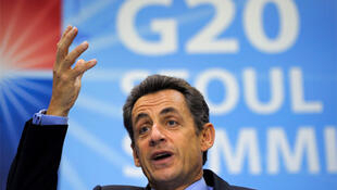 France's President Nicolas Sarkozy speaks at a news conference at the G20 summit in Seoul, November 12, 2010.