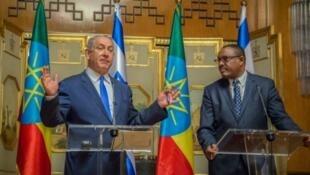 Waziri Mkuu wa Israel (kushoto) na mwenzake wa Ethiopia, Hailemariam Desalegn.