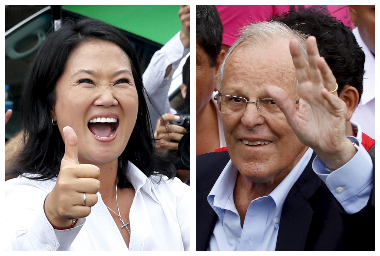 Os candidatos as presidenciais do Peru (esq-direita) Keiko Fujimori e Pedro Pablo Kuczynski em Lima, Peru, 10 de abril de 2016.