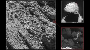 Des images du robot Philae coincé dans une faille de la comète Chury fournies par la sonde Rosetta.