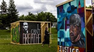 Actividad artística en las cercanías del Floyd Memorial Square en Minneapolis, Minnesota, el 22 de mayo de 2021