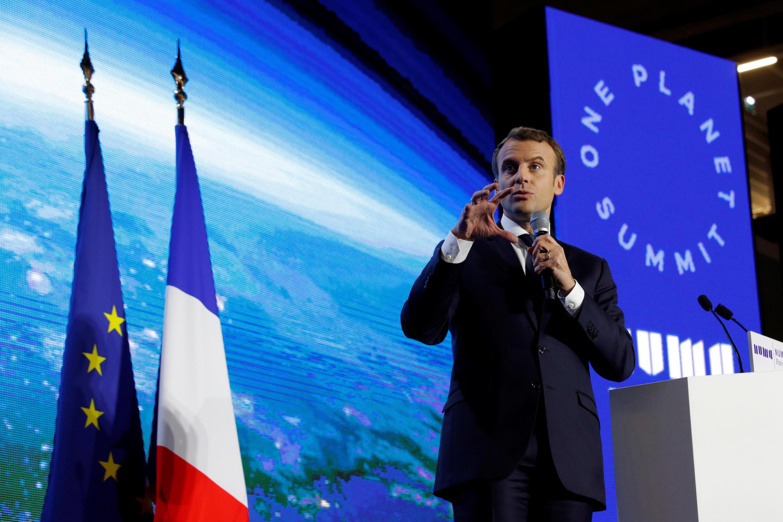 Tổng thống Pháp Emmanuel Macron phát biểu tại diễn đàn Công nghệ vì Hành tinh, một sự kiện trong khuôn khổ thượng đỉnh One Planet Summit tại Paris, ngày 11/12/2017.