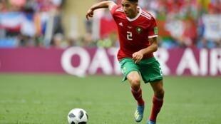 Le latéral marocain Achraf Hakimi lors de la Coupe du monde 2018 en Russie.