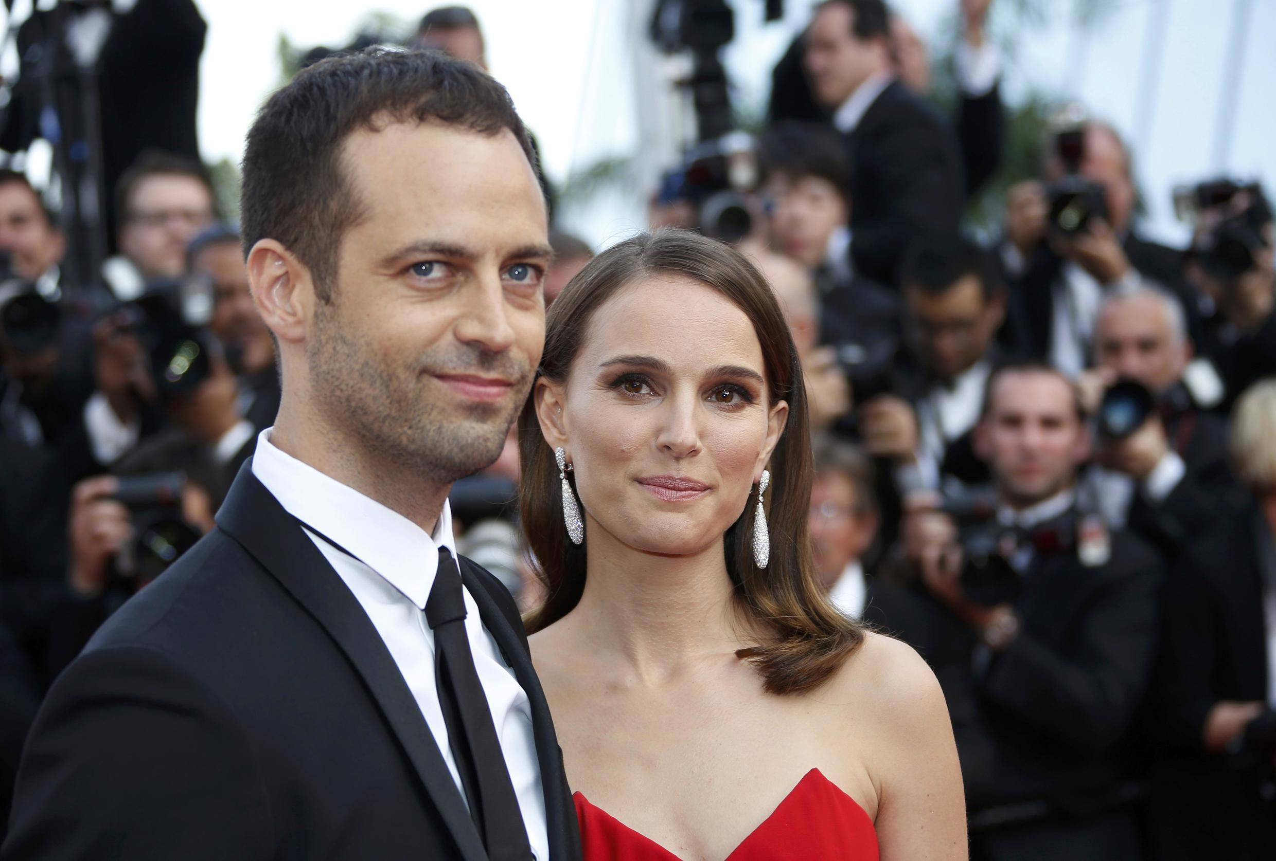 Choreographer Benjamin Millepied with wife Natalie Portman, at the 2015 Cannes Film Festival,