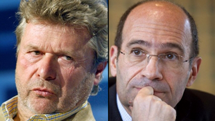 Alain-Dominique Perrin (L) President of the Cartier Foundation for Contemporary Art, and French Labour Minister Eric Woerth
