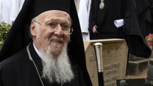 Le patriarche orthodoxe  Bartholomew I de Constantinople lors d'une visite à la communauté monastique de Taize en France, le 25 avril 2017.