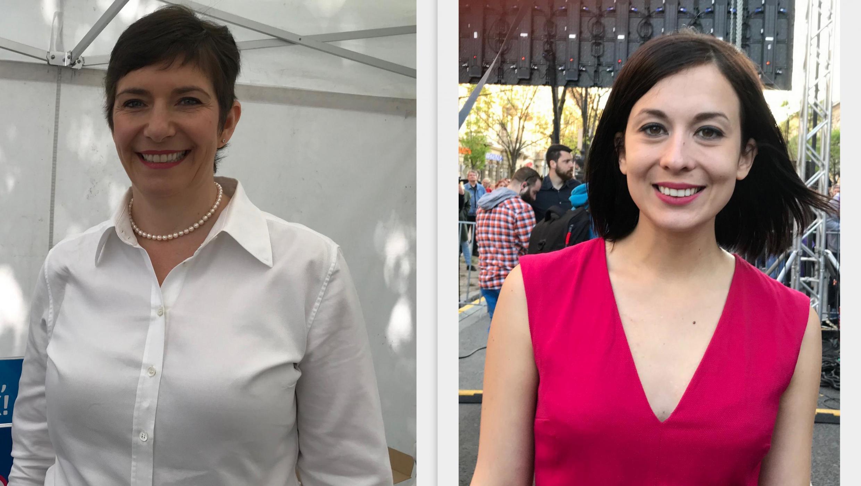 As candidatas húngaras de oposição Klára Dobrev (à esquerda), de centro-esquerda, e Katalin Cseh, liberal de centro.