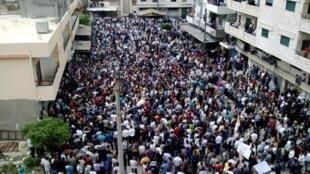 Une manifestation dans la ville syrienne de Banias.