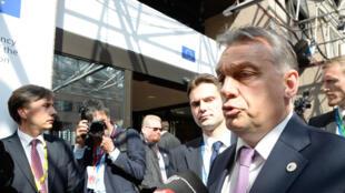 Viktor Orban, Premier ministre hongrois, lors d'une conférence de presse à Bruxelles le 23 avril dernier, en marge du sommet organisé pour répondre à la crise humanitiaire des migrants, au large des côtés italiennes.