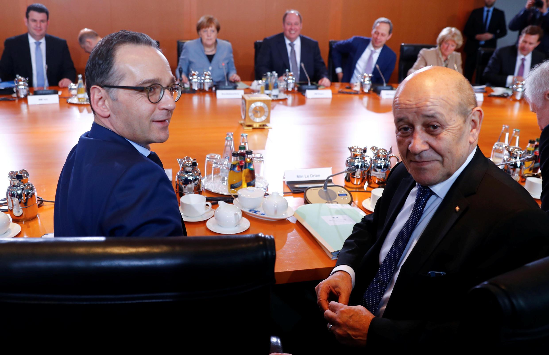 هایکو ماس و ژان-ایو لودریان وزرای امور خارجۀ آلمان و فرانسه
