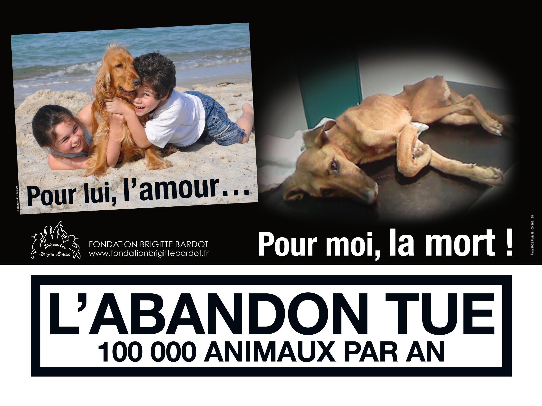 Campanha da Fundação Brigitte Bardot nos metrôs de Paris, contra o abandono dos animais.