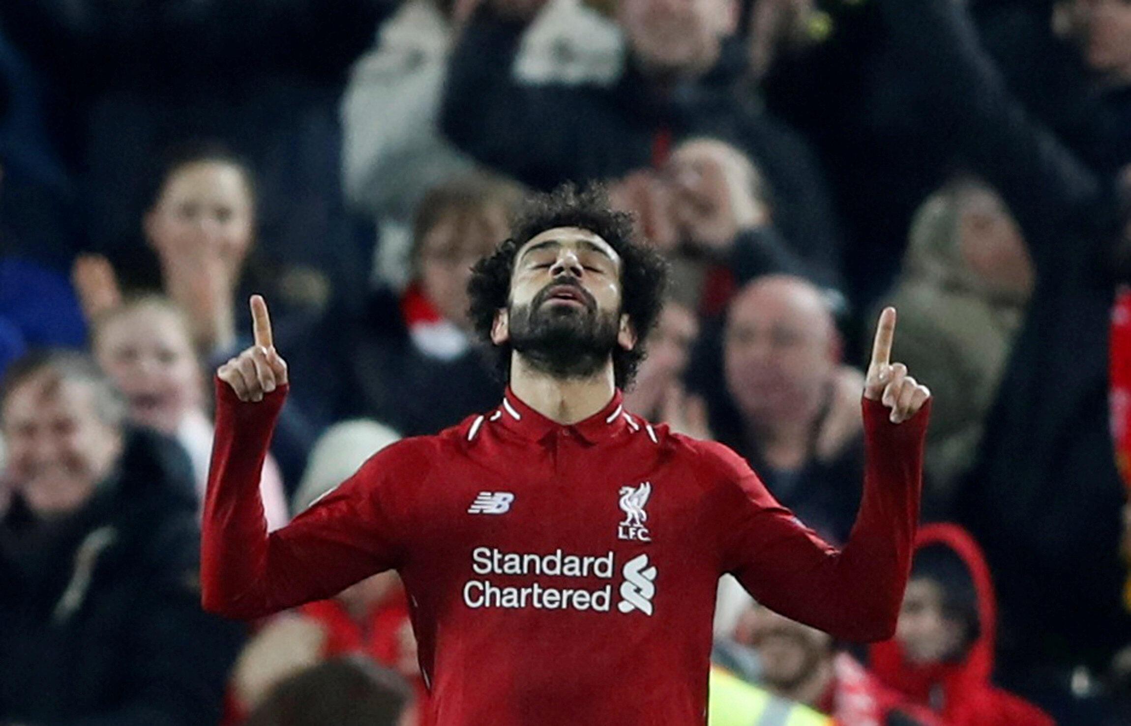 Mohamed Salah fête l'unique but de Liverpool contre Naples (1-0) en Ligue des champions le 11 décembre 2018.