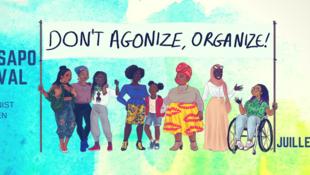 Cartaz do primeiro festival afro-feminista NYANSAPO que deveria acontecer em Paris do 28 ao 30 de julho em Paris.
